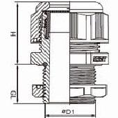 ケーブルグランドMネジ防爆長足型の図
